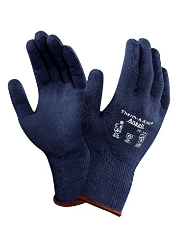 Ansell Therm-A-Knit Elasticizzato, Unisex, colore: blu caldo Comfort Liner Gloves lavabile in lavatrice A 40 °C , 9 (paio)