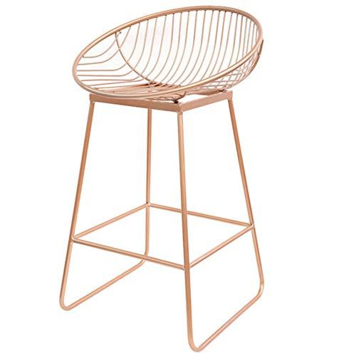 YT Silla de trabajo Nordic de metal con respaldo y reposapiés antideslizante, silla de salón para desayuno, bar, cocina y taburetes de bar, 02, M