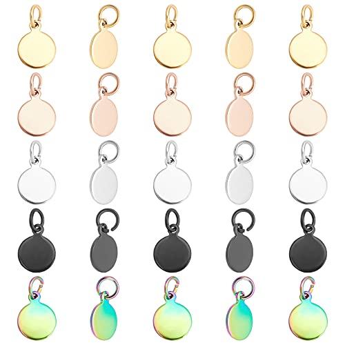 UNICRAFTALE 50pcs 5 Colores Chapado Al Vacío Abalorios Redondos Planos 304 Amuletos de Acero Inoxidable con Anillos de Salto para Bricolaje Collar Pulsera Fabricación de Joyas Orificio 3.5 mm