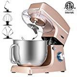 VIVOHOME 7.5 Quart Stand Mixer, 660W 6-Speed Tilt-Head Kitchen Electric Food Mixer with Beater, Dough Hook and Wire Whip, ETL Listed, Champagne