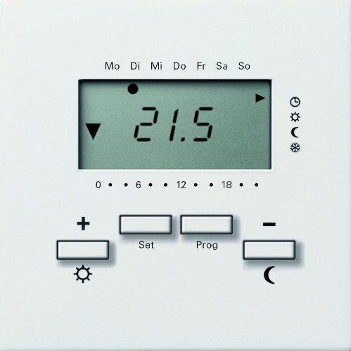 Gira 2370112 Raumtemperatur-Regler 230 V mit Uhr Flächenschalter, reinweiß