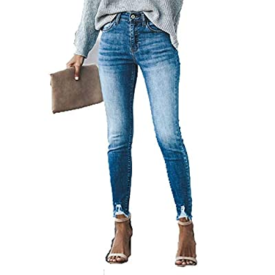 HOSDWomens Jeans Denim Slim Solid Skinny High Waist Pencil Pants Bleached Vintage Ankle- Length Trousers from HOSD