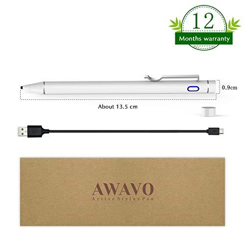 AWAVO iPad stift kompatibel für Apple Pencil Touchscreens, wiederaufladbare Stifte mit 1.6 mm Kunststoffspitze, kompatibel mit Apple iPad Pro / iPhone / Samsung IOS und Android Tablet
