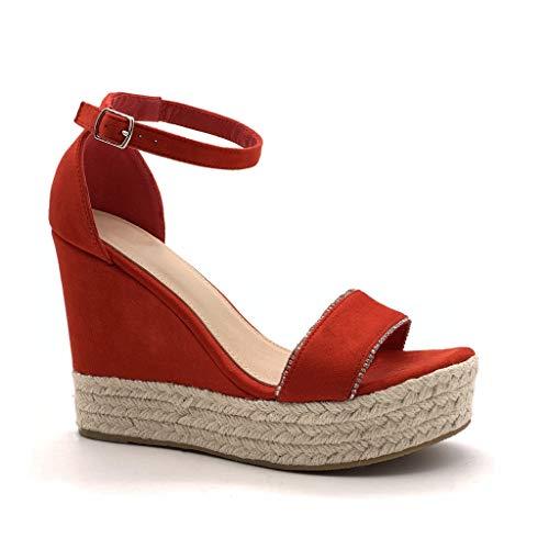 Angkorly - Damen Schuhe Sandalen Espadrilles - knöchelriemen - Bequeme - Plateauschuhe - mit Stroh - String Tanga - Schleife Keilabsatz high Heel 12 cm - Rot 88-289 T 41