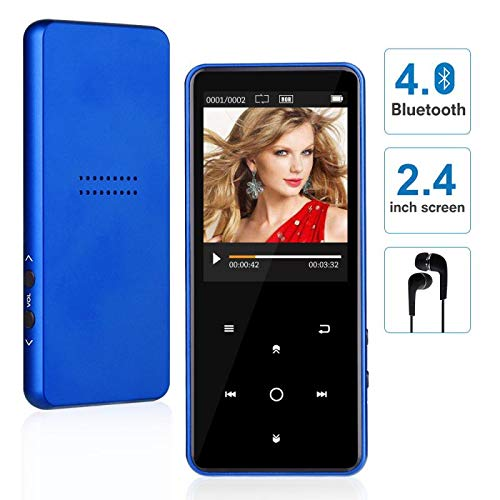 MP3 Player with Bluetooth, WIDON up to 128GB Music Player with Speaker Touch Button 2.4'' Screen 8GB, Portable Audio Player with Shuffle A-B Bookmark Variable Speed for Audio Books - Metal Body Blue3