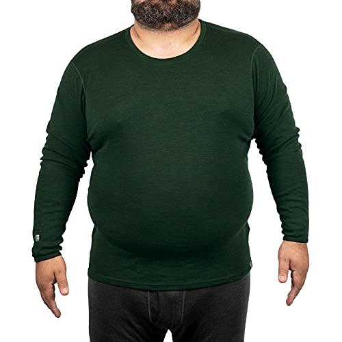 MERIWOOL Mens Base Layer - 100% Merino Wool Midweight Long Sleeve Thermal Shirt Army Green