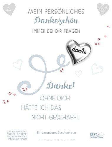 ART + emotions Dankesbotschaft Münze 925 versilbert mit Geschenkkarte und Text - Danke, ohne Dich… Glücksbringer Talisman für die Hosentasche und Geldbörse