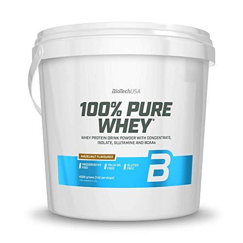 BioTechUSA 100% Pure Whey Premium Protein Isolat Pulver mit zusätzlichen Aminosäuren, glutenfrei, palmölfrei, aspartamfrei, 4000g, Haselnuss