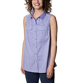 Columbia Women's PFG Bonehead Stretch Sleeveless Shirt Cotton Blend Fishing Fairytale Swiss Dot XX-Large