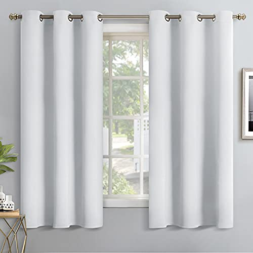 YoungsTex Blackout Curtains for Bedroom - Thermal Insulated with Grommet Top Room Darkening Noise Reducing Curtains for Living Room, 2 Panels, 42 x 63 Inch, Greyish White