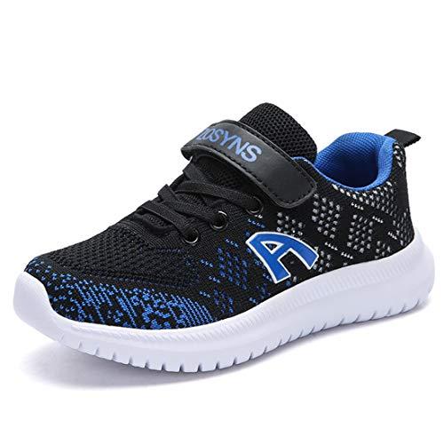 ZOSYNS Hallenschuhe Kinder Sneaker Jungen Sportschuhe Mädchen Turnschuhe Kinderschuhe Outdoor Laufschuhe für Unisex-Kinder Schwarz Blau 31