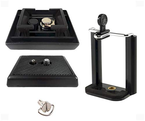 DaVoice Tripod Quick Release Plate Parts Replacement for Vivitar VPT-120 VPT-240 VPT-360 Barska Deluxe AF10374 Celestron 93606 + Cell Phone Tripod Mount Adapter Compatible with iPhone