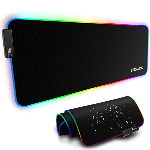 ESGAMING RGB Gaming Mouse Pad Large 354 x 157 Inch LED Soft Extra Extended Mousepad NonSlip Rubber Base Computer Keyboard Pad Mat for Gamer Suitable for MacBook PC Laptop Desk