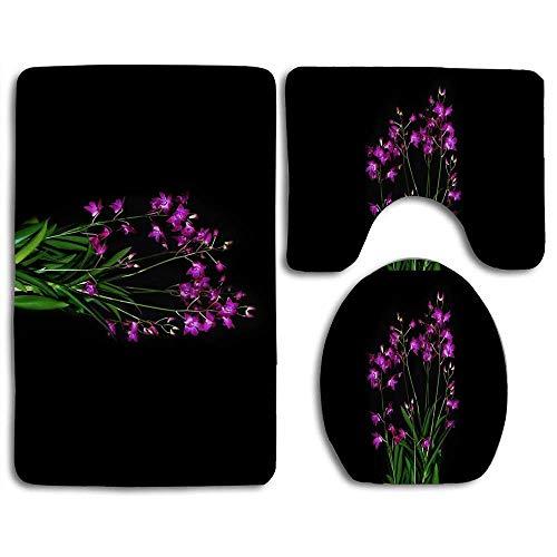 huatongxin rutschfeste 3 Stück Soft Dendrobium Berry Oda Bath Rugs Set Washable Badteppich + Konturmatte + Toilettensitzbezug,Bodenteppich für Fußmatten Badewanne Duschraumdekorationen