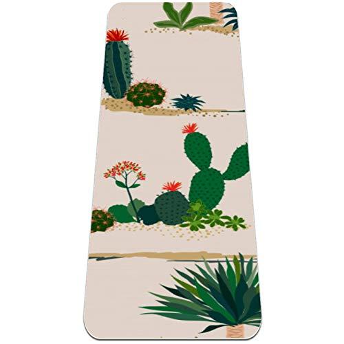 Eslifey Esterilla de yoga con patrón de plantas de cactus gruesa antideslizante para mujeres y niñas, alfombrilla de ejercicio suave para pilates (72 x 24 pulgadas, 0,6 cm de grosor)
