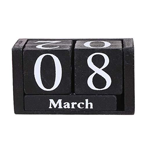 Madera de la Vendimia Calendario perpetuo Eterno Bloques Mes exhibición de la Fecha de Escritorio Accesorios fotografía apoya la decoración del hogar Oficina (Color : Black)