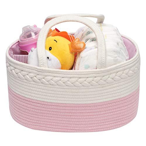 Multifuncional Organizador de Pañales para Bebé,Cesta Bebe Recien Nacido,Cestas Bebe con Compartimentos Extraíbles,Rosa