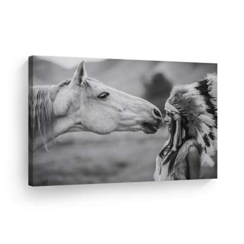 SmileArtDesign Indian Wall Art Native American Woman Looks at White Horse Canvas Print Home Decor Decorative Artwork Living Room Bedroom Office Wall Decor Ready to Hang Made in USA - 8x12