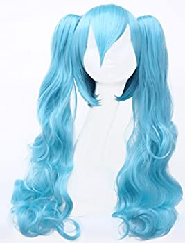 Simpleyourstyle Hatsune Miku Water Blue Anime Cosplay Wigs Heat Resistant Synthetic Hair Body Wave Wigs with Double Jaws Clamp Ponytails
