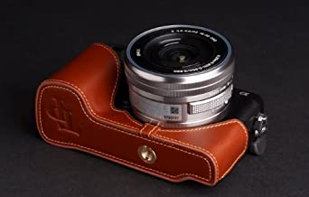 Genuine real COW leather case bag cover for SONY NEX6 NEX-6 Camera half case brown color