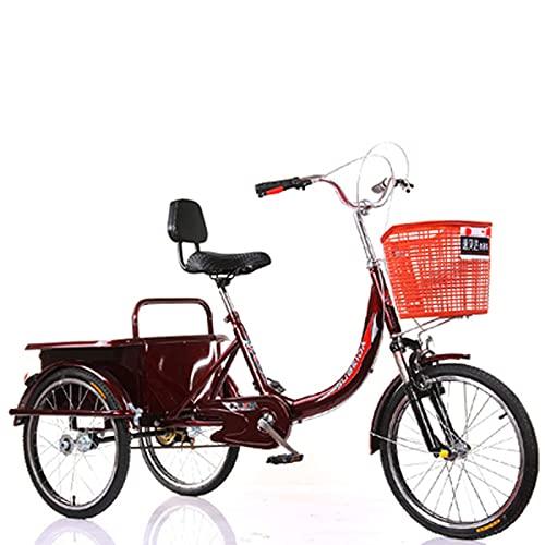 Triciclo para adultos bicicleta Three Wheel Cruiser Bike Single Speed bicycle 20in Triciclo Adulto Marco De Acero De Alto Carbono 3 Bicicletas De Rueda Para Recreación, Compras, Picnics E(Color:Red)