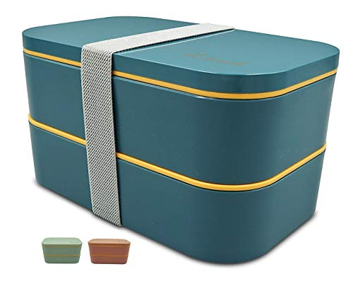 Bento Box Lunch Box Bento Lunch Box for Adults Children with Cutlery 2-Tier...