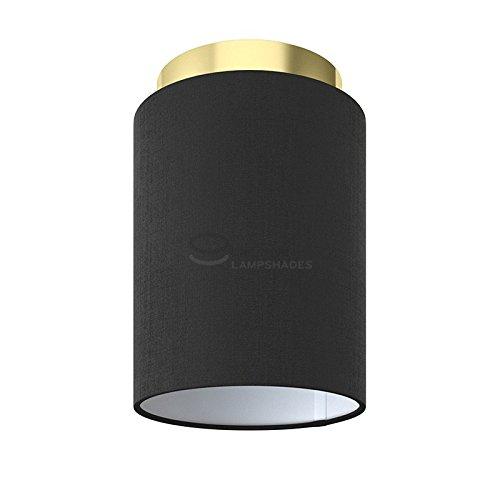 Fermaluce: wand- of plafondspot in messing afwerking metaal met Zwarte Canvas Cilinder Lampenkap Ø 15 cm h18 cm