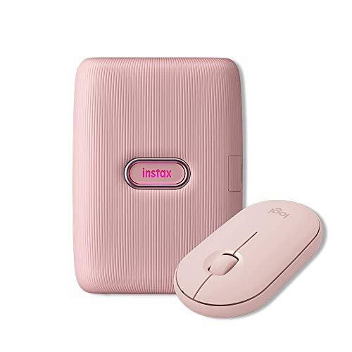 Logitech Pebble Mouse Wireless, Bluetooth o 2.4 GHz con Mini Ricevitore USB, Rosa + Fujifilm Instax Mini Link, Stampante Fotografica a Sviluppo Istantaneo per Smartphone, Rosa (Dusky Pink)