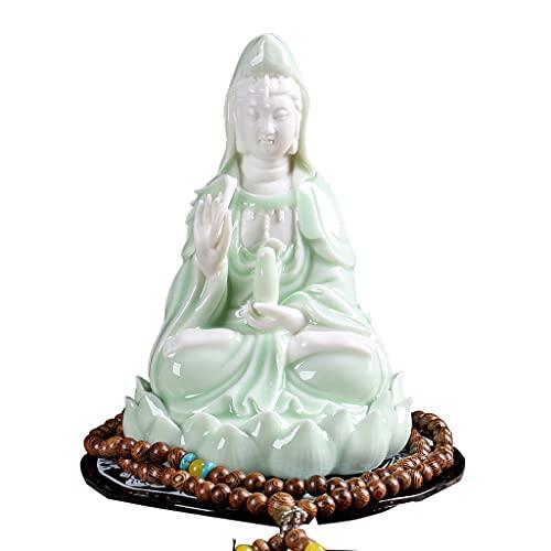 Esculturas Estatua De Quan Yin Mini con Acabado De Cerámica Blanca Estatua De Guan Yin Diosa Calidad Remium Estatua De Quan Yin. Budista Avalokiteshvara Kuanyin/Estatua De Budismo En Lotus/Figur