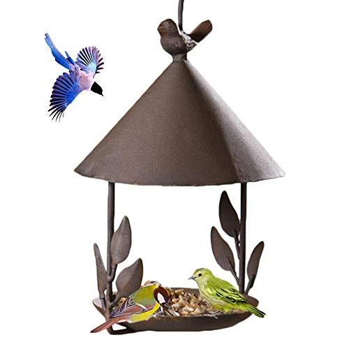 WANGIRL Retro Bird Feeder Hanging Sunflower Bird Feeding Table Dish Metal Old Iron Wild Bird Feeder with Hook Design Birds Food Tray for Garden Outdoor Tree House Decoration