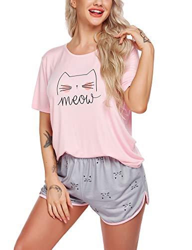 Ekouaer Schlafanzug Damen Kurz Pyjama Set Sommer Nachtwäsche Hausanzug Kurzarm Rund Ausschnitt Top und Short Zweiteilig Sleepwear