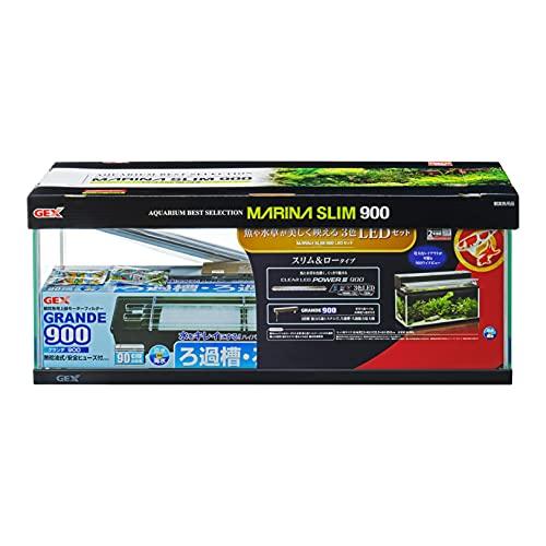 ジェックス マリーナスリム900LEDセット 黒枠ガラス水槽 フィルター・LED付き
