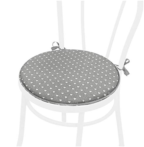 emmevi Cojín para silla de lunares con corazones, redondo, suave, con lazos, universal, lavable, mod. DALIA56 gris