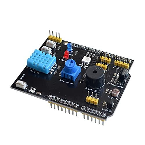 GzxLaY Adaptador de Placa de expansión multifunción con Sensor de Temperatura y Humedad DHT11 LM35 para Arduino UNO R3, Receptor de Infrarrojos LED, zumbador I2C