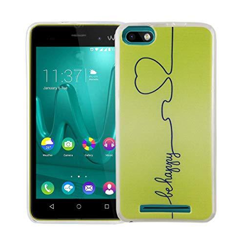 König Design Handy-Hülle kompatibel mit Wiko Lenny 3 Silikon Hülle Hülle Sturzsichere Back-Cover Handyhülle - Be Happy Design Grün