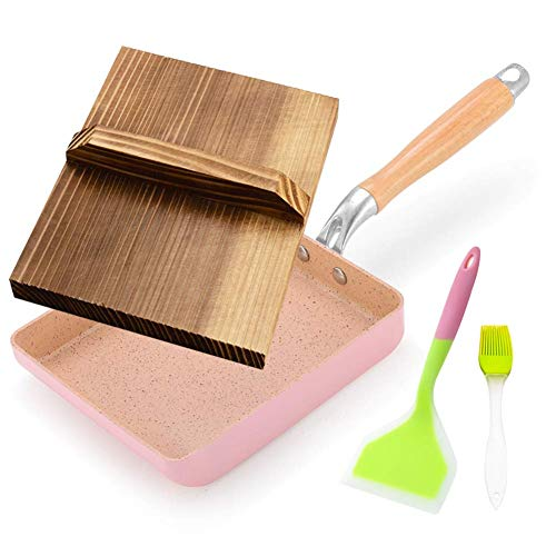 XJZKA Sartén Japonesa Tamagoyaki, Sartén para Tortillas para hornillos y Placas de inducción, Sartén Antiadherente con Tapa de Madera y volteador de Silicona, Rosa