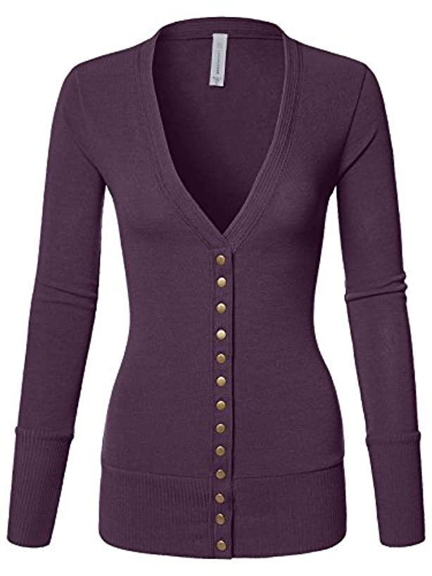 Luna Flower Women's V-Neck Snap Button Long Sleeve Soft Basic Knit Snap Cardigan Sweater