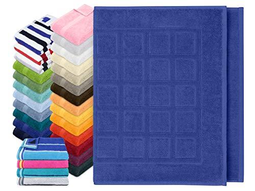 Dyckhoff Traumhaft weiche Bio-Handtuchserie - erhältlich in 22 modischen Unifarben in 7 verschiedenen Größen, sowie 7 Streifen-Variationen, 1 Badvorleger 50 x 80 cm, Royalblau