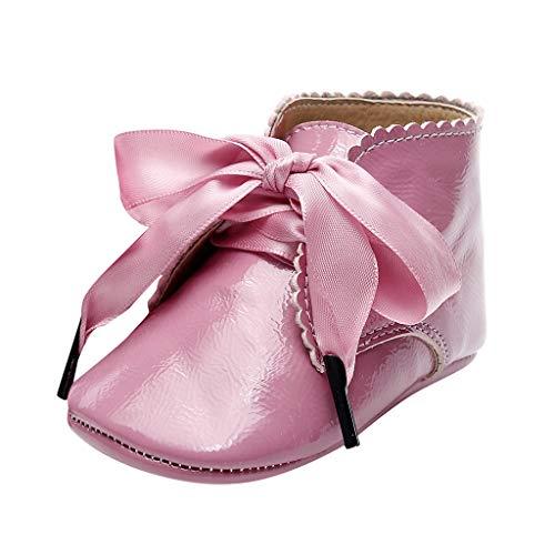 Jaysis Baby Booties Mode Komfortable Outdoor Kinderschuhe Mädchen Spitze Schnürung Bequeme Trekkingschuhe Süß Elegant Party Babyschuhe (0~24 Monate)