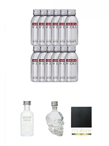 Danzka Red Miniaturen 12 x 0,05 Liter + Absolut Vodka Vanilla 5 cl Miniatur + Crystal Head Vodka 5 cl Miniatur + Schiefer Glasuntersetzer eckig ca. 9,5 cm Durchmesser