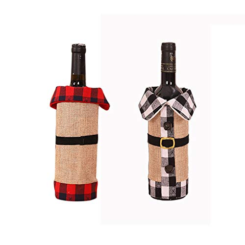 ZHANMAUU Christmas Socks Christmas Wine Bottle Cover Wine Bottle Dress Wine Bottle Sweater Cover with Newest Collar & Button Coat Design for Xmas Party Decoration 2pcs 1026