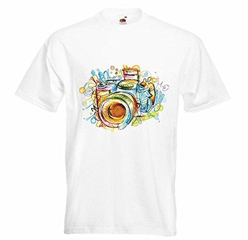 T-shirt Remera digitale camera van de verkoop fotografie van het retromodel digitale camera fotografie camera foto onderwatercamera wit