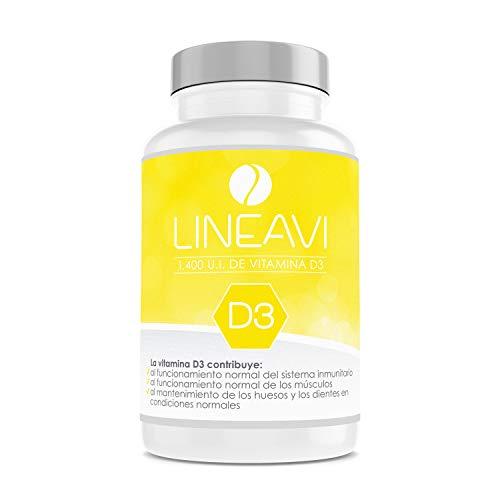 LINEAVI Vitamina D3, 35 µg / 1.400 U.I. por cápsula, refuerza el sistema inmunológico y contribuye al mantenimiento de huesos y dientes, fabricado en Alemania, 120 cápsulas (para 4 meses)