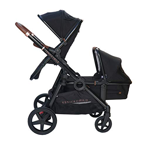 Venice Child Maverick Travel System Single to Double Stroller for Twins with Newborn Bassinet Pram and Toddler Seat (Package 2, Eclipse Black)