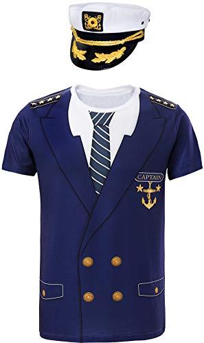 COSAVOROCK Hombre Camisetas de Capitán con Gorra