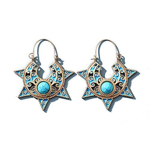 GUMEI Vinatge Flor Tallada Turquesa Étnico Azul Leal Girasol Pendientes De Botón Mujer