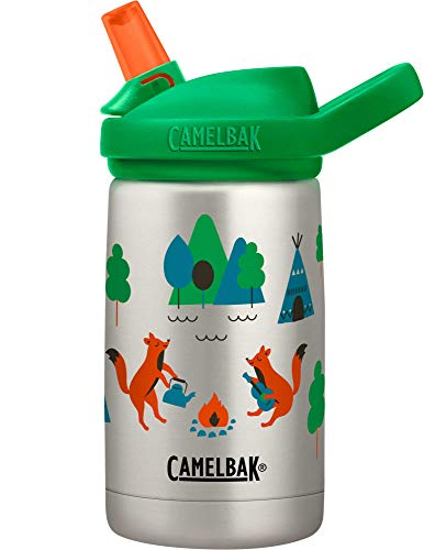 CamelBak Eddy+ Kids Water Bottle, Vacuum Insulated Stainless Steel with Straw Cap, 12 oz, Camping Foxes - Spill-Proof When Open, Leak-Proof When Closed (2284101040)