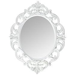 Kole Imports Oval Vintage Wall Mirror, White, 11.5 x 15 Inch