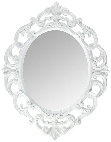 Kole Imports - Espejo Ovalado de Pared, Color Blanco, 11.5 x 15 Pulgadas