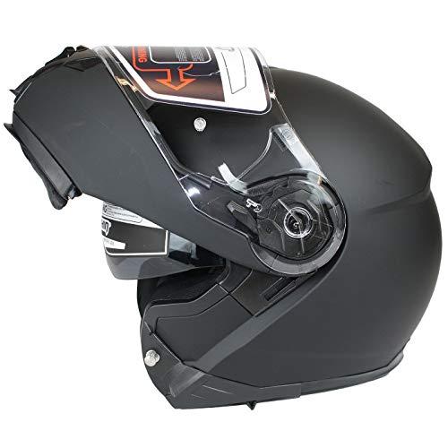 Marushin M-310 Motorrad Helm Klapphelm Sonnenblende sportliche Tourenfahrer, L, Mattblack